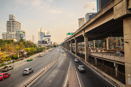 Bangkok, Thailand - March 8, 2017:  Smoothly traffic at Vibhavadi Rangsit Road after passed the heavy traffic jamed from Ladprao junction.
