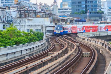 Bangkok, Thailand - March 8, 2017: The Bangkok Mass Transit System, BTS or Skytrain, Silom line, driving through the city center coming fromto Chong Nonsi Station.