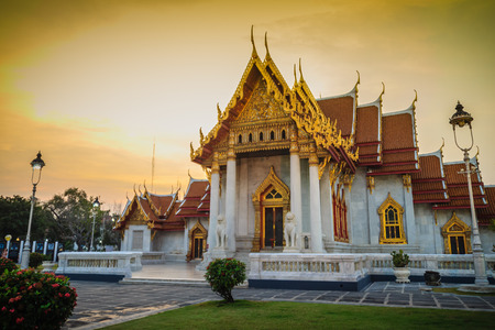 Beautiful landscape and architectural of Wat Benchamabophit Dusitvanaram, also known as the marble temple, it is one of Bangkoks most beautiful temples and a major tourist attraction.