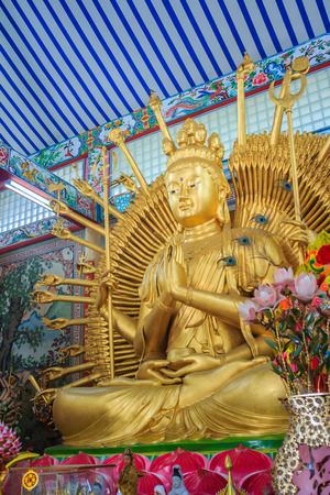 Golden statue of Guan Yin with 1000 hands. Guanyin or Guan Yin is an East Asian bodhisattva associated with compassion as venerated by Mahayana Buddhists and known as the Goddess of Mercy in English