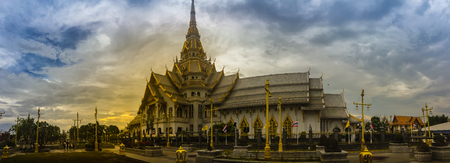 Panorama view of Wat Sothonwararam, a famous public temple in Chachoengsao Province, Thailand. Located in the Municipality of Mueang Chachoengsao alongside the Bang Pakong River.