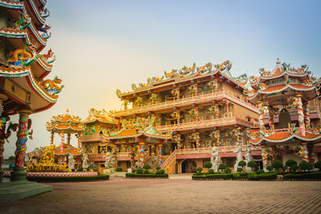 Beautiful architectural buildings at Wihan Thep Sathit Phra Kitti Chaloem, the famous Nezha Chinese public temple in Chonburi province, Thailand. Stock Photo