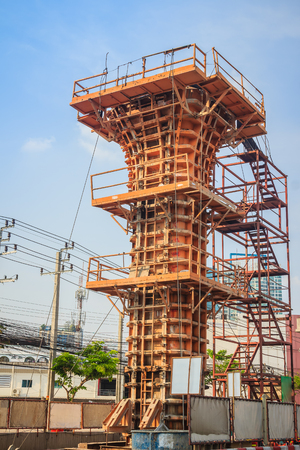 Steel formwork for reinforced concrete basement column for the high speed train bridge. Rusty metal plates of formwork on construction site. Reusable steel formwork for concrete column construction. Stock Photo