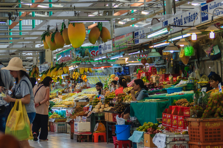 Bangkok, Thailand - April 23, 2017: Or Tor Kor Market (Marketing Organization for Farmers) is ranked as one of the 10 world's fresh market by CNNGo. Located near the famous Chatuchak weekend market. Editoriali