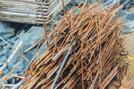 Steel bars scrap left over from construction site and can be sell as salvage for recycling.