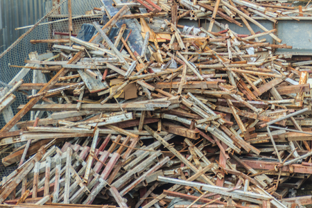 dismantled: Steel bars scrap left over from construction site and can be sell as salvage for recycling.