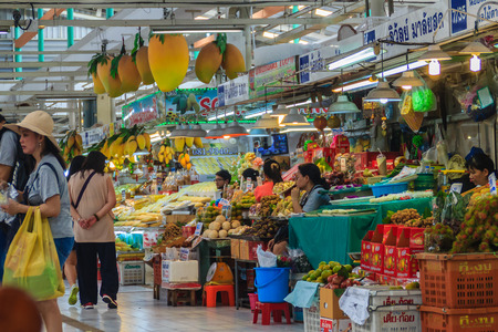 Bangkok, Thailand - April 23, 2017: Or Tor Kor Market (Marketing Organization for Farmers) is ranked as one of the 10 world's fresh market by CNNGo. Located near the famous Chatuchak weekend market. Editorial