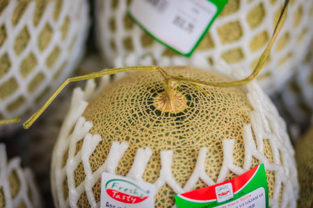 sell: Bangkok, Thailand - April 23, 2017: Extra jumbo grade of Japanese melons for sale at the Or Tor Kor fresh market. A melon is the family Cucurbitaceae with sweet edible, fleshy fruit.
