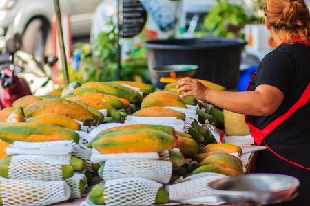 Extra jumbo size of ripe big yellow papaya fruit wrapped in protective net for sale at the fruit market in Bangkok, Thailand. Organic ripe papaya vendor is selling for extra large size at the stall.