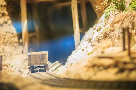 Bangkok-Thailand, July 15, 2017: Small model of mining and quarrying industries at the public Rock and Minerals Museum, Rama 6 road, Bangkok