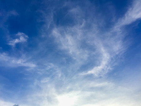 Sparse clouds in the blue sky morning background. Fluffy clouds in the blue sky evening background. Blue sky in summer background with tiny clouds,