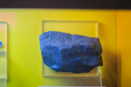 Magnetite rock specimen from mining and quarrying industries. Magnetite is a mineral and one of the main iron ores. With the chemical formula Fe3O4, it is one of the oxides of iron.