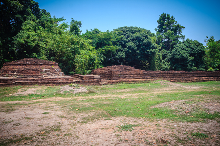 Wat Phrachao Ong Dam (Temple of the Black-Bodied Lord), a ruined temple that is part of the Wiang Kum Kam archaeological site, Chiang Mai, Thailand.