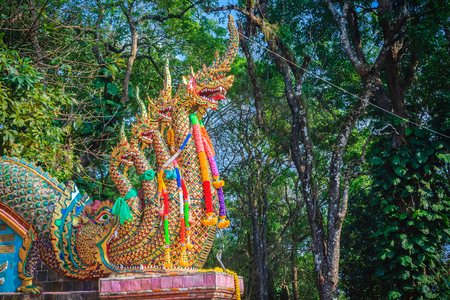 Beautiful naga statue at the staircase leading to the temple of Wat Phra That Doi Suthep, the famous temple and became the landmark of Chiang Mai, Thailand.