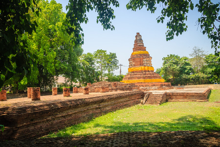 Wat I Khang (Langurs Temple), one of the ruined temples in Wiang Kum Kam, an historic settlement and archaeological site that built by King Mangrai the Great since 13th century, Chiang Mai, Thailand