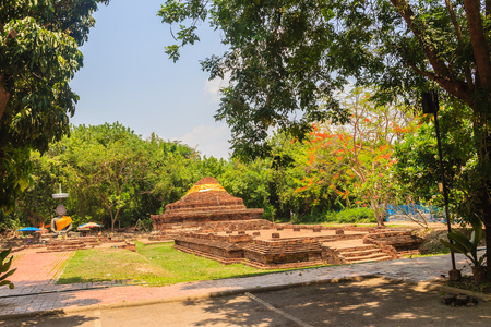 Ruins of Wat That Khao, one of the ruined temples in Wiang Kum Kam, an historic settlement and archaeological site that built by King Mangrai the Great since 13th century, Chiang Mai, Thailand.