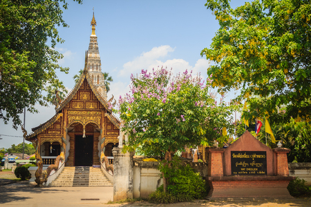 Beautiful Wat Chedi Liam (Temple of the Squared Pagoda), the only ancient temple in the Wiang Kum Kam archaeological area that remains a working temple with resident monks at Chiang Mai, Thailand.