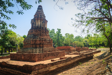 Wat Pu Pia (Temple of Old Man Pia), one of the ruined temples in Wiang Kum Kam, an historic settlement and archaeological site that built by King Mangrai the Great since 13th century, Chiang Mai. Banque d'images