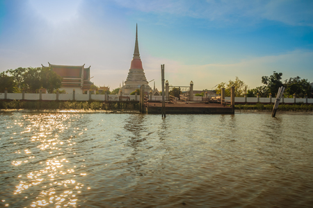 Wat Phra Samut Chedi temple view from Chao Phraya river, the beautiful and famous temple in Samut Prakarn, Thailand.