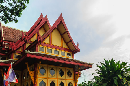 Prachuap Khiri Khan, Thailand - March 16, 2017: Colorful royal pavilion at Hua Hin Railway Station that has been considered to be the most beautiful station and became very popular tourist attraction.