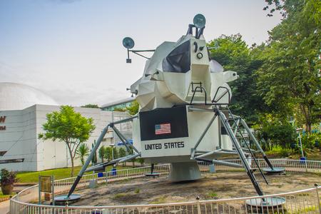 Bangkok, Thailand - November 4, 2017: Model of The Apollo Lunar Module, the lander portion of the Apollo spacecraft built for the US Apollo program that located at Bangkok planetarium, Thailand.