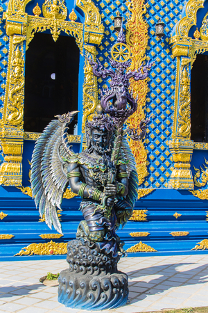Sculpture of Himavanta wild animals at Wat Rong Suea Ten Temple, Chiang Rai, Thailand. The Himavanta is a legendary forest which surrounds the base of Mount Meru in Hindu mythology.