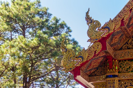 Beautiful golden naga sculptures on the church roof under the blue sky background at Wat Phra That Doi Tung, one of which is believed to contain the left collarbone of Lord Buddha.