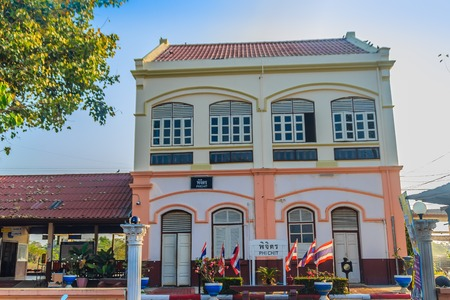 Phichit, Thailand - March 18, 2018: Neo-Classical Architecture building of Phichit railway station, the main railway station of Phichit Province. Located 347 Kilometers (215.5 mi) from Bangkok.