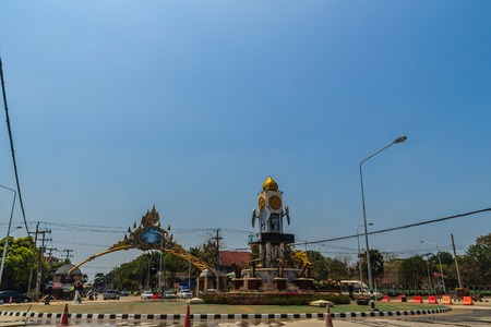 Phichit, Thailand - March 17, 2018: Clock tower and traffic circle at Muang district, Pichit province, Thailand.
