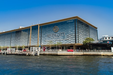 Bangkok, Thailand - December 21, 2017: River City Bangkok Shopping Complex, The Anchor of Arts & Antiques building, is a shopping center in Bangkok, Thailand. It is located on the Chao Phraya River.