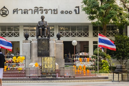 Bangkok, Thailand - December 21, 2017: Monument of Prince Mahidol Adulyadej Memorial statue at Siriraj Hospital in Bangkok, Thailand.