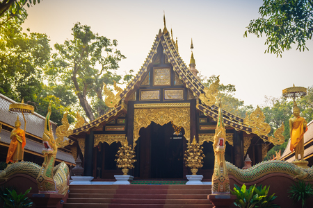 Beautiful Thai architecture Buddhist temple at Wat Ram Poeng (Tapotaram) temple, Chiang Mai, Thailand. Wat Rampoeng is one of famous place for studying meditation, not far from the Chiang Mai airport Imagens