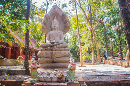 Ancient stone Buddha image statue at Wat Umong Suan Puthatham, a 700-year-old Buddhist temple in Chiang Mai, Thailand. Wat Umong is famous Buddhist temple, tourist can learn meditation from the monks. 免版税图像