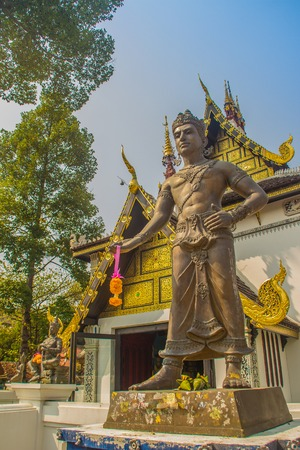 King Mangrai statue at Wat Chedi Luang in Chiang Mai, Thailand. King Mangrai, also known as Mengrai was the first king of Lanna. He established city Chiang Mai, as the capital of the Lanna Kingdom.