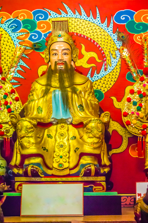 Statue of Liu Bei in the public Chinese Temple. Liu Bei founded the Kingdom of Shu and was regarded as a great statesman and strategist in the Chinese warrior from Romance of the Three Kingdoms novel. Editorial