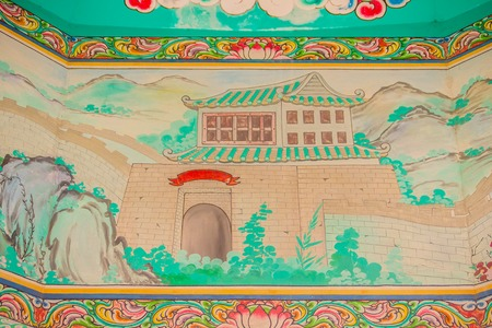 Great wall of China painting on the wall in the public Chinese temple. Editorial