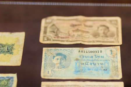 Rare old Thai paper money banknote vintage collection. Old Thailand Baht banknotes in the vintage market.