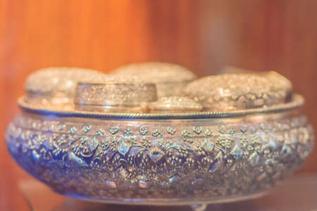 Old Thai silver bowl or Khan Maak in Thailand, a wedding ceremony accessories or engagement ceremony with betel, dowry, which the groom arranged to wear a bowl to pay respect to the bride's guardian.
