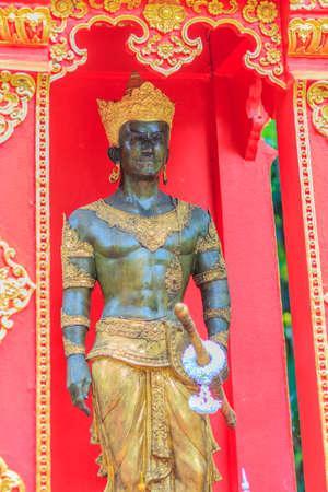 Beautiful King Mangrai statue at Wat Phra Kaew, Chiang Rai, Thailand. King Mangrai, also known as Mengrai. He founded the city of Chiang Rai as his new capital of Lanna in 1262.