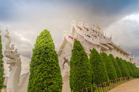 Beautiful landscape view of Wat Huay Pla Kang, a Chinese styled (Mahayana Buddhist) public temple in the northern outskirts of Chiang Rai city, Thailand.