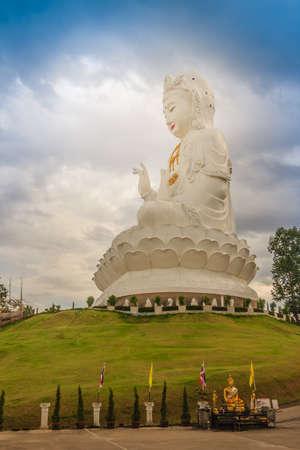 White statue of Guanyin at Wat Huay Plakang, the public Buddhist temple, Chiang Rai, Thailand. Stock Photo