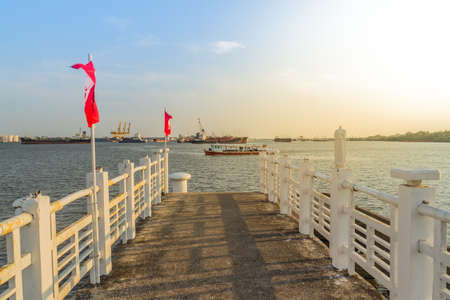 The public ferry service during across Choa Phraya River. Samut Prakan is at the mouth of the Chao Phraya River on the Gulf of Thailand.