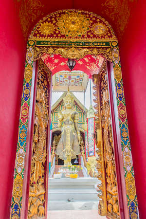 Beautiful art of Buddha image, religious places and religious objects in Myanmar mixed with Lanna style at Wat Ming Muang Buddhist temple, Chiang Rai, Thailand. Mixed Lanna and Burmese arts. Archivio Fotografico