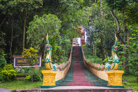 Beautiful Wat Phra That Doi Prabat (Wat Doi Phra Baht) entrance gate. Doi Phrabat Temple is the location of important historical sites and ancient religious in Chiang Rai, Thailand. Archivio Fotografico