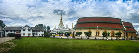 Beautiful landscape and white gold pagoda of Wat Jedyod, Chiang Rai, Thailand. Wat Chet Yot is a temple that has been renovated from the remains of an ancient temple. Editoriali