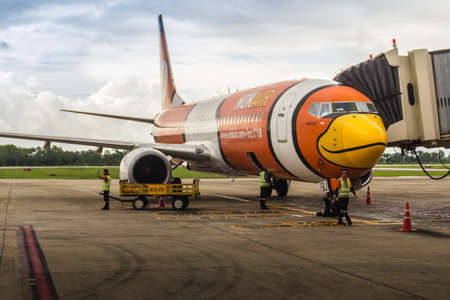 Bangkok, Thailand - June 13, 2017: NokAir airplane is parking at the gate wait for the boarding passenger at Suvarnabhumi International Airport, Thailand. Nok Air is a low-cost airline in Thailand.