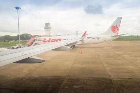 Chiang Rai, Thailand - June 13, 2018: Thai LionAir Airplane is parking on the gate after arrived at Mae Fah Luang - Chiang Rai International Airport