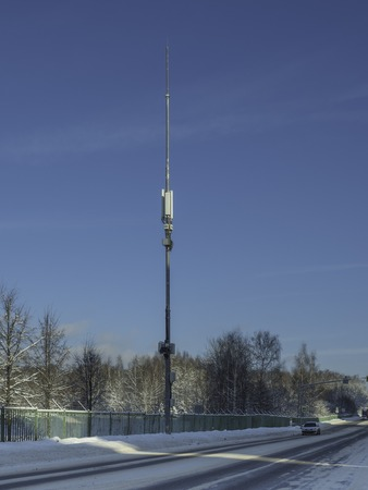 The base station antenna of mobile communication. Telecommunications tower mobile operator
