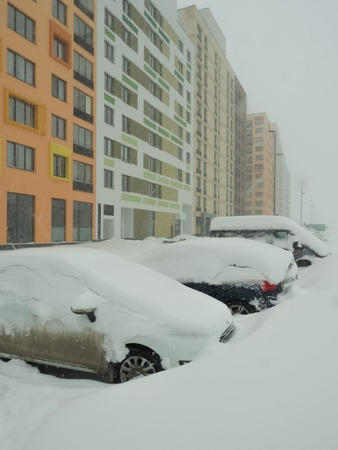 Powerful snowfall in Moscow. February 2018