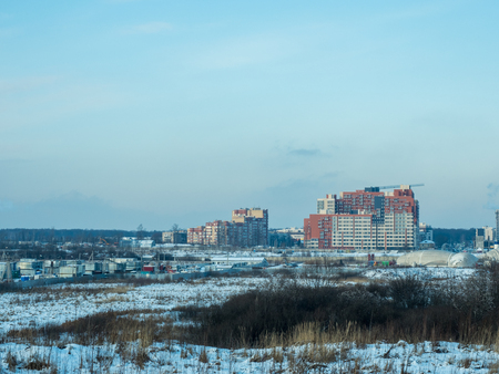 Construction of a residential neighborhood in the suburbs of Moscow Фото со стока